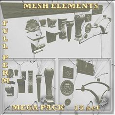 Mesh Decoration Elements 15 set full perm