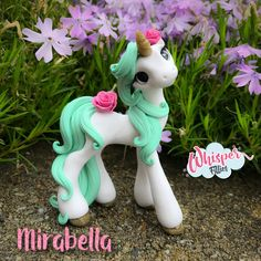 Whisper Fillies Mirabella mint rose Unicorn horse pony figurine. Handmade from Polymer Clay  Visit my etsy page whisperfillies.etsy.com for more little Filly cuteness. Facebook.com/Whisperfillies