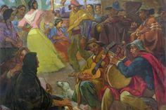 Cleto Ciocchini. Bailecito norteño. Óleo sobre tela. 200 x 250 cm. 1950. PIntor ARgentino