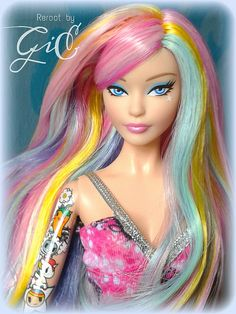 Tokidoki barbie rerooted with rainbow hair ♡♡ Beautiful Barbie Dolls, Vintage Barbie Dolls, Pretty Dolls, Mattel Barbie, Barbie Hair, Doll Hair, Barbie Clothes, Bratz, Barbie Fashionista