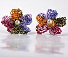 Crochet Flower Earring Studs