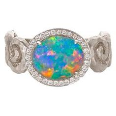Extraordinary Lightning Ridge Black Opal White Diamond Gold One of a Kind Ring 3