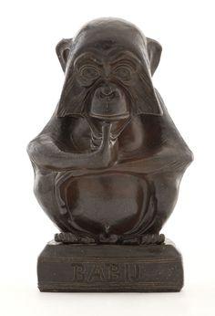 "JOSEPH MENDES DA COSTA. ""Babij"" A Grès Figure of a Chimpanzee,circa 1903."