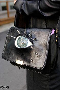 bag handbag purse eyeball spikes eye pockey book shoulder bag leather punk metal japan goth studs creepy grunge harakuju pastel goth gothic eye ball