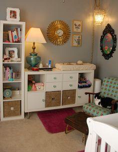 dresser...Ikea Kallax on its side with legs