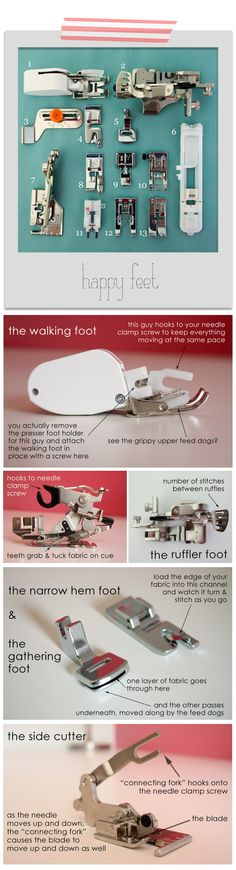 Finding Your Feet: sewing machine feet and their uses http://www.raechelmyers.com/2012/04/sewing-101-happy-feet/