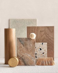 """Tom Mark Henry on Instagram: """"Apricot hues are beautifully complimented by a natural, tonal base of timber, brass and textural finishes for this studio palette."""" Mark Henry, Material Board, Concept Board, Surface Pattern, Design Projects, Living Room Designs, Pattern Design, Palette, Place Card Holders"""