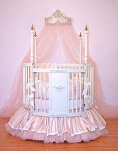 Alexa Crib Baby Bedding- Round by Little Bunny Blue