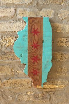 Upcycled State of Illinois Chicago Flag Wooden Wall Art Decor on Etsy, $20.00