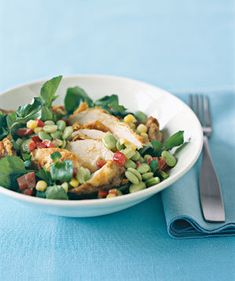 Top off this chicken-and-vegetable salad with a Dijon-mustard vinaigrette. | Whether served straight from the grill or in a salad, chicken makes an easy meal.
