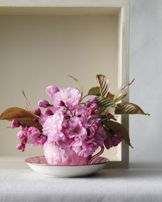 Try snipping off only a few short-stemmed flowers. In this arrangement the full petals of this 'Kwanzan' cherry are well matched with this hot-pink teacup. Spring Flower Arrangements, Flower Vases, Spring Flowers, Silk Flowers, Floral Arrangements, Teacup Flowers, Spring Colors, Floral Flowers, Kwanzan Cherry