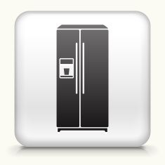 Square Button with Refrigerator vector art illustration