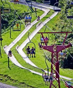 Chair lift and alpine slide at Ober Gatlinburg in Tennessee.