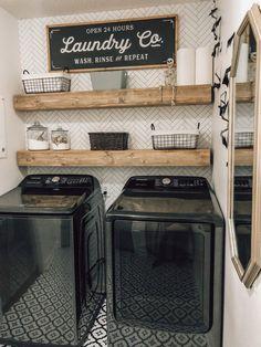 Laundry Room Remodel, Laundry Room Bathroom, Laundry Room Shelves, Laundry Room Organization, Organization Ideas, Laundry Closet Makeover, Laundry Room Wallpaper, Basement Laundry, Laundry Room Floors