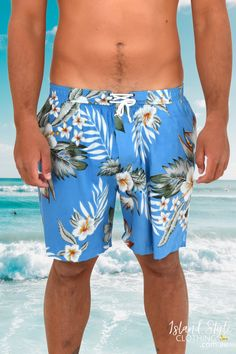 Sometimes you want floral but not too loud. Casual tropical print shorts. 100% Cotton, light-weight, unlined, 2 x side pockets and an elastic waistband. Wear from beach to the bar, and everywhere in-between! Now on clearance sale for really cheap, check our store for more bargains. #mensshorts #festivalshorts #beachshorts #cottonshorts #matchinghawaiianshirts #shorts #mensfashion #hawaiianshorts #summer #sale #partyshorts #colourful #birdofparadise #islandstyleclothing #hawaiian #blue #turquoise
