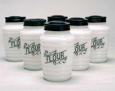 Vintage Mid Century Milk Glass Flour Shaker