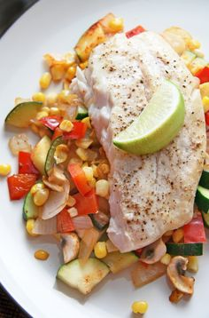 Halibut with Summer Succotash