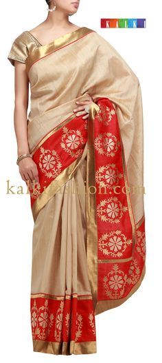 Buy it now  http://www.kalkifashion.com/beige-saree-with-zari-border.html  Beige saree with zari border