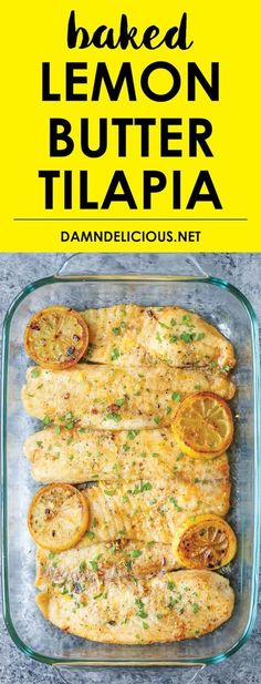 Baked Lemon Butter Tilapia - Easy Recipe ready in 20 min. Fish Recipes, Healthy Recipes, Healthy Dinner Recipe, Dinner Recipe