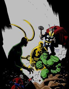 The Avengers (Original Line-Up) // artwork by Mike Mignola (2012)