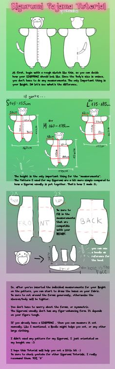 Kigurumi Tutorial by DiruLiCiouS View the full tutorial here: http://dirulicious.deviantart.com/art/Veeery-short-Kigurumi-Tutorial-199780986