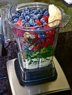 "Slammin' Sunrise ""Green"" Smoothie with spinach, strawberries, blueberries , frozen banana..."