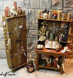 miniature artist specializing in leather bound books. I also make an array of wizard, witch, and other strange and sometimes macabre fantasy miniatures. Haunted Dollhouse, Haunted Dolls, Dollhouse Miniatures, Dollhouse Ideas, Haunted Houses, Halloween House, Halloween Crafts, Halloween Decorations, Halloween Miniatures