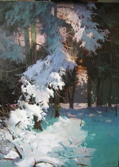 by Viktor Bykov Landscape Concept, Contemporary Landscape, Fantasy Landscape, Winter Landscape, Landscape Art, Landscape Paintings, Painting Snow, Winter Painting, Winter Art