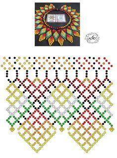 Foto Natali Khovalko Diy Necklace Patterns, Beaded Jewelry Patterns, Bead Loom Patterns, Beading Patterns, Beading Projects, Beading Tutorials, Japanese Patchwork, Bead Loom Bracelets, Native American Beading