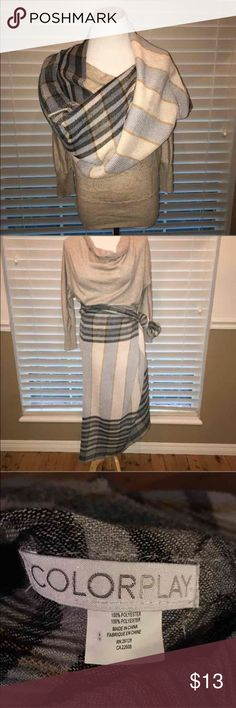 Colorplay Infiniti scarf Gorgeous plaid scarf perfect for fall and winter months. Extra large and versatile. Could be a make-shift skirt as well! Pleated and has some stretch. Excellent condition without flaws. Colorplay Accessories Scarves & Wraps