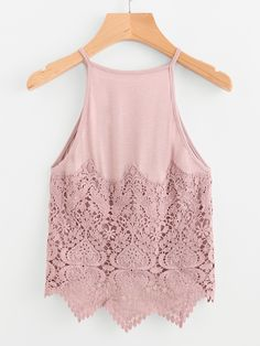 SheIn offers Contrast Crochet Lace Dip Hem Cami Top & more to fit your fashionable needs. Buy Online Womens Top and Black T-shirt Women Ladies at fashion cornerstone. Great discounts all season Classy Outfits, Stylish Outfits, Cool Outfits, Summer Outfits, Cami Tops, Look Cool, Dress To Impress, Fashion Dresses, Clothes
