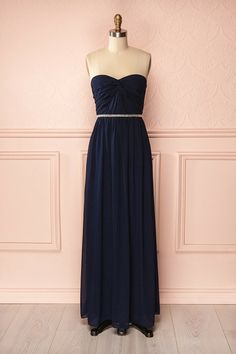 Megara Navy - Navy blue maxi bustier dress with silver bead waistline