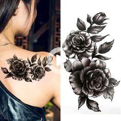 Black big flower Body Art Waterproof Temporary Sexy thigh tattoos rose For Woman Flash Tattoo Stickers - Sleeve Tattoo Women - Tattoos For Women Flowers, Foot Tattoos For Women, Shoulder Tattoos For Women, Amazing Tattoos For Women, Shoulder Cover Up Tattoos, Cover Up Tattoos For Women, Full Sleeve Tattoos, Sleeve Tattoos For Women, Tattoo Sleeve Designs