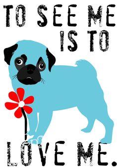 Pug Art Print with the Adorable Face Wall Decor Digital Print. $14.00, via Etsy.