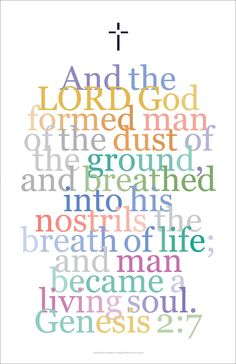 "Bible Art Poster 17, Genesis 2:7. ""And the Lord, God formed man..."""