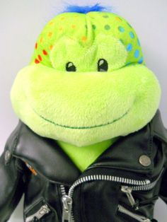 Build a Bear Green Spotted Frog w/ Harley Davidson Motorcycle Jacket Blue Mohawk #BuildaBear #Any