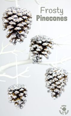 A classic frosty pinecone craft with a clever twist makes gorgeous Winter and Christmas ornaments. A super frosty, super sparkly and super fun Winter craft for kids! #christmas #winter #ornaments #pinecones #naturecrafts #kidscrafts #fallcrafts #pineconecrafts #wintercrafts #wintercraftideas #craftsforkids #snow #frost #Winteractivities #winterart #kidscraftideas