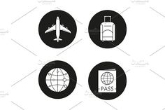 Air travel. 4 icons. Vector #airplane