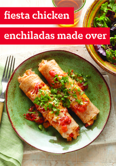 Fiesta Chicken Enchiladas Made Over – Loaded with cheeses, seasonings, and veggies, this chicken enchilada recipe is a delectable take on Tex-Mex.