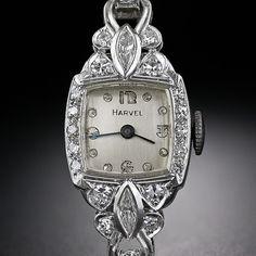 Art Deco Platinum and Diamond Bracelet Watch, circa Lang Antiques. I Love Jewelry, Art Deco Jewelry, Jewelry Box, Jewellery, Antique Watches, Vintage Watches, Art Nouveau, Antique Jewelry, Vintage Jewelry
