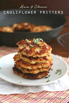 Low Carb Ham & Cheese Cauliflower Fritters