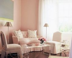 pink-loveseat-sofa-living-room-white-furniture-romantic-decor-pretty-eclectic-home-ideas- « eclectic revisited by Maureen Bower Romantic Living Room, Living Room White, Living Room Sofa, White Bedroom, Master Bedroom, Girls Bedroom, Bedrooms, Beautiful Interior Design, Home Interior Design