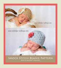 Strikingly Beautiful and Unique!  Smock Stitch Beanie Pattern.  Comes in either knit or crochet and includes all sizes Newborn through Adult.  New Pattern.