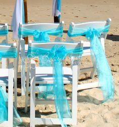 Aqua Organza Chair Sash