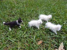 Schafe und Border Collie Set Nadel Filz