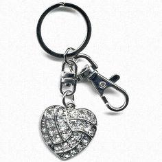 Volleyball heart rhinestone key ring!