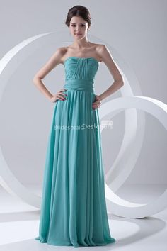 Turquoise Chiffon Strapless Pleated Floor Length Bridesmaid Dress at Bridesmaiddesigners.com