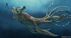 concept art and final design of the sea emperor leviathan from subnautica, you can see the immense scale of the creature when compared to the player, giving it an imposing look. Subnautica Concept Art, Creature Concept Art, Subnautica Creatures, Mythical Creatures, Creature Feature, Creature Design, Underwater Creatures, Arte Horror, Sea Monsters