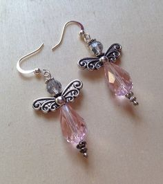 Faceted Pink Crystal Angel Earrings by BeadTurtle on Etsy, $8.99