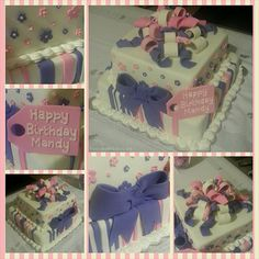 Pink & Purple Birthday Cake - Two tier banana cake with chocolate ganache, decorate with pink and purple fondant stripes, flowers and ribbons plus a tag piped with royal icing.